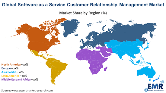 Global Software as a Service Customer Relationship Management Market By Region